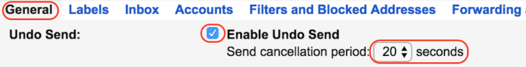 Undo Send Gmail Hack