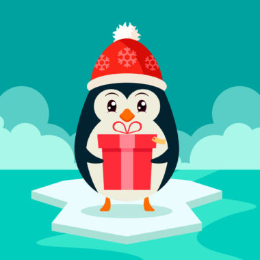 Funny Penguin Holding a Big Gift Box