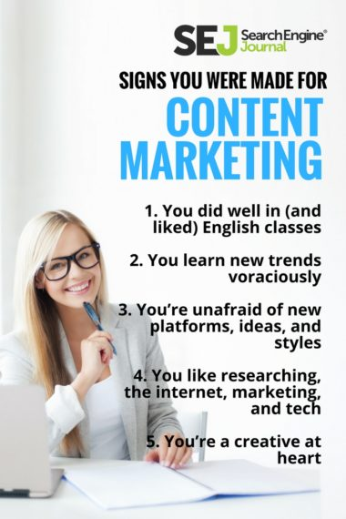 Pinterest Graphic: Signs You Were Made for Content Marketing