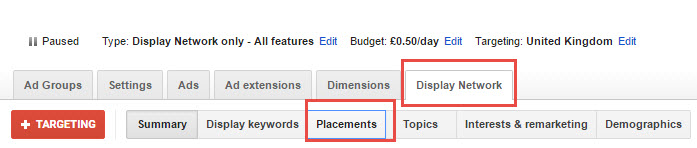 placements tab