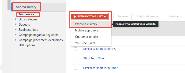 creating remarketing lists via the audience tab
