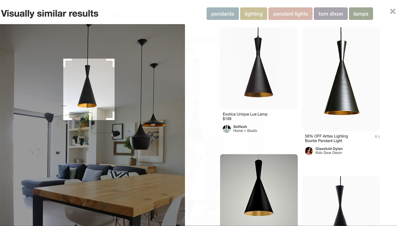 visual search on Pinterest for light pendant