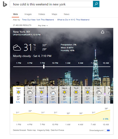 How's the Weather? Find Out With Bing's Advanced Weather Answers
