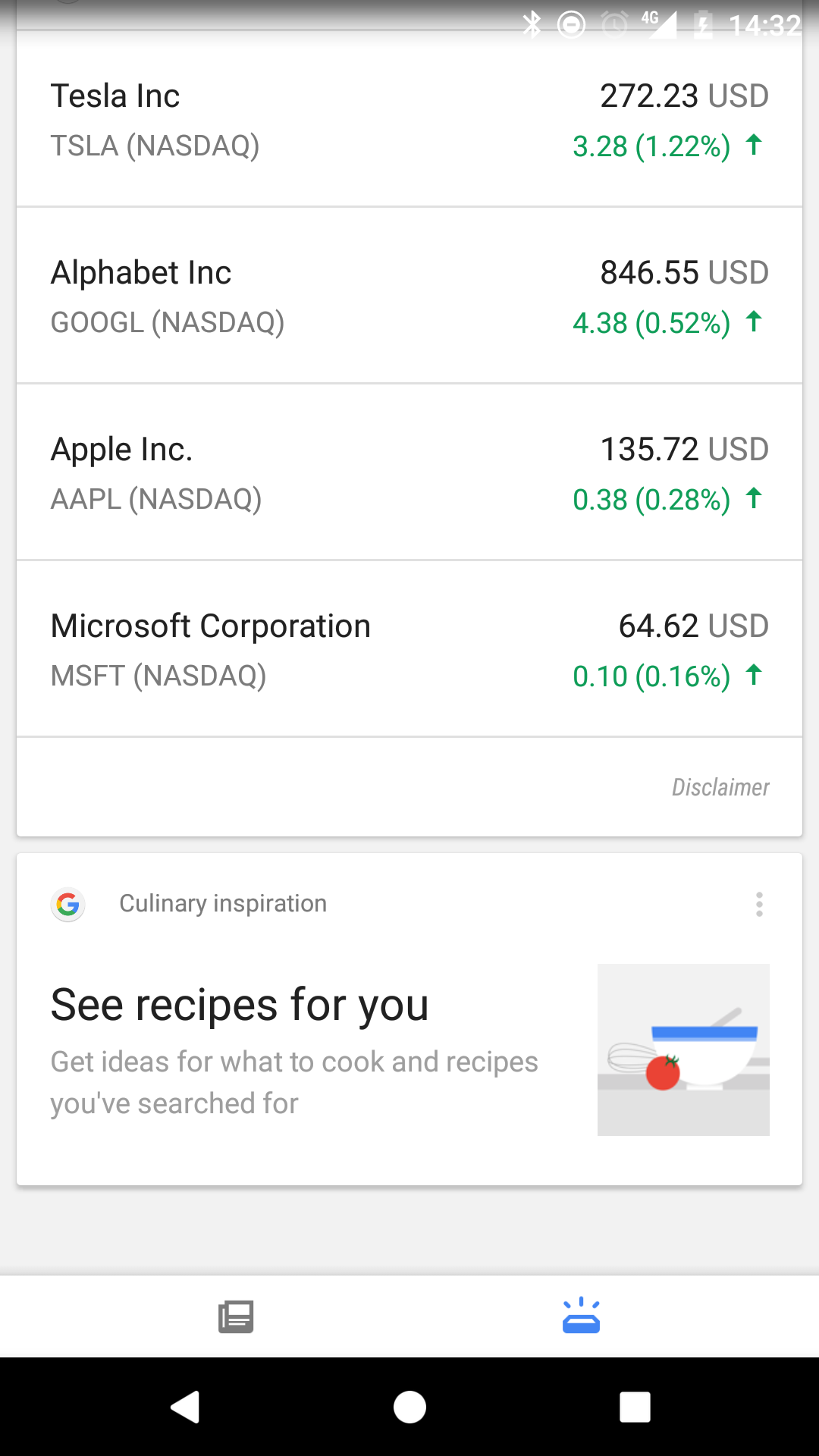 New Google Cooking Cards Spotted in Google Now