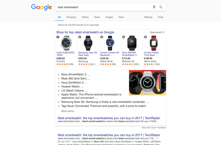 "Screenshot the SERP results when searching for ""Best Smartwatch"""