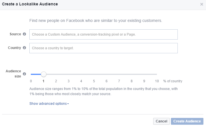 Creating Facebook Lookalike audiences