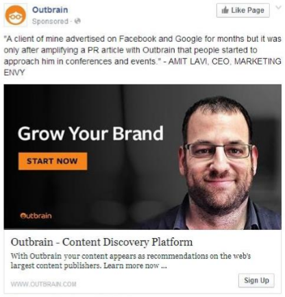 Outbrain Facebook advertisement