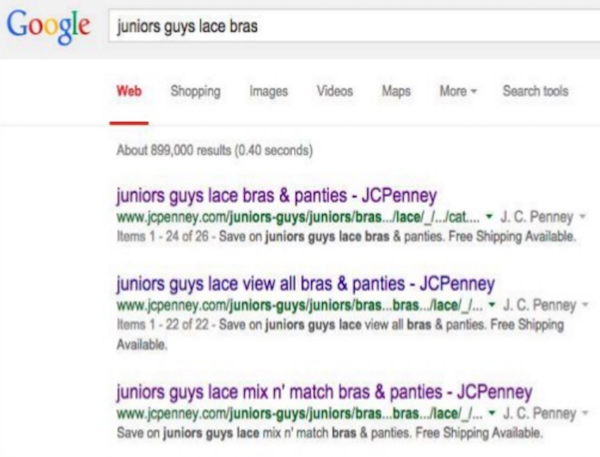 JCPenney juniors guys lace bras category