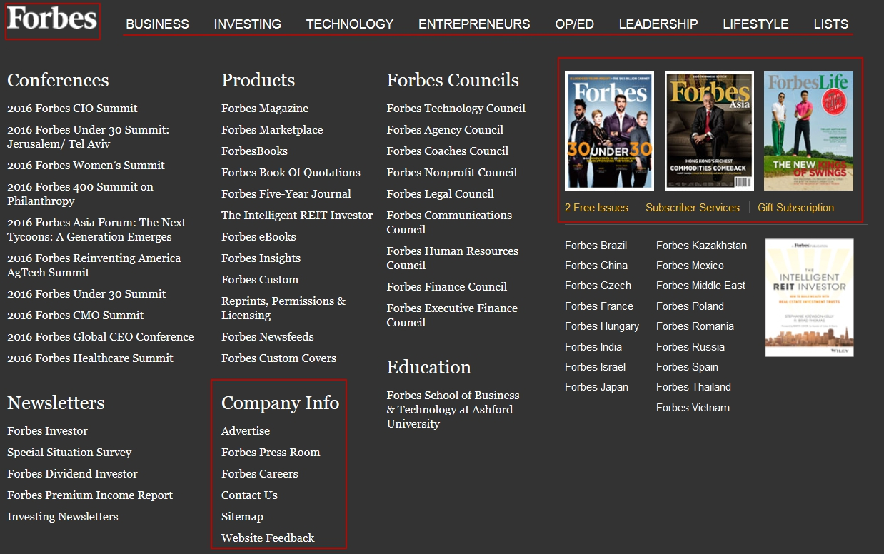 Forbes footer with tabs and categories