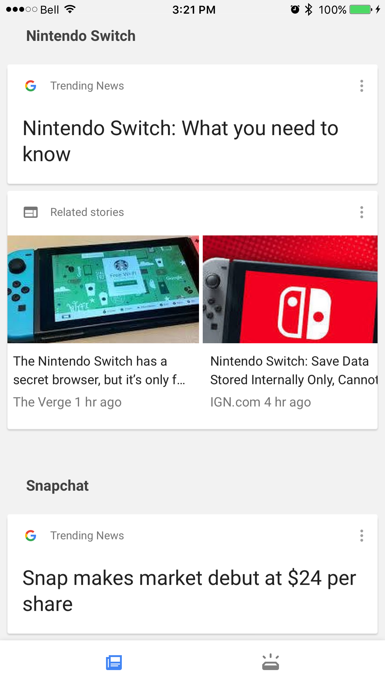 Google App Showing Trending News Cards on iOS and Android