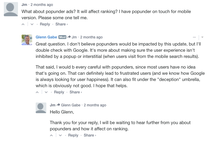 Screenshot of GSquared Interactive Blog Post Comments About PopUnder Mobile Interstitials