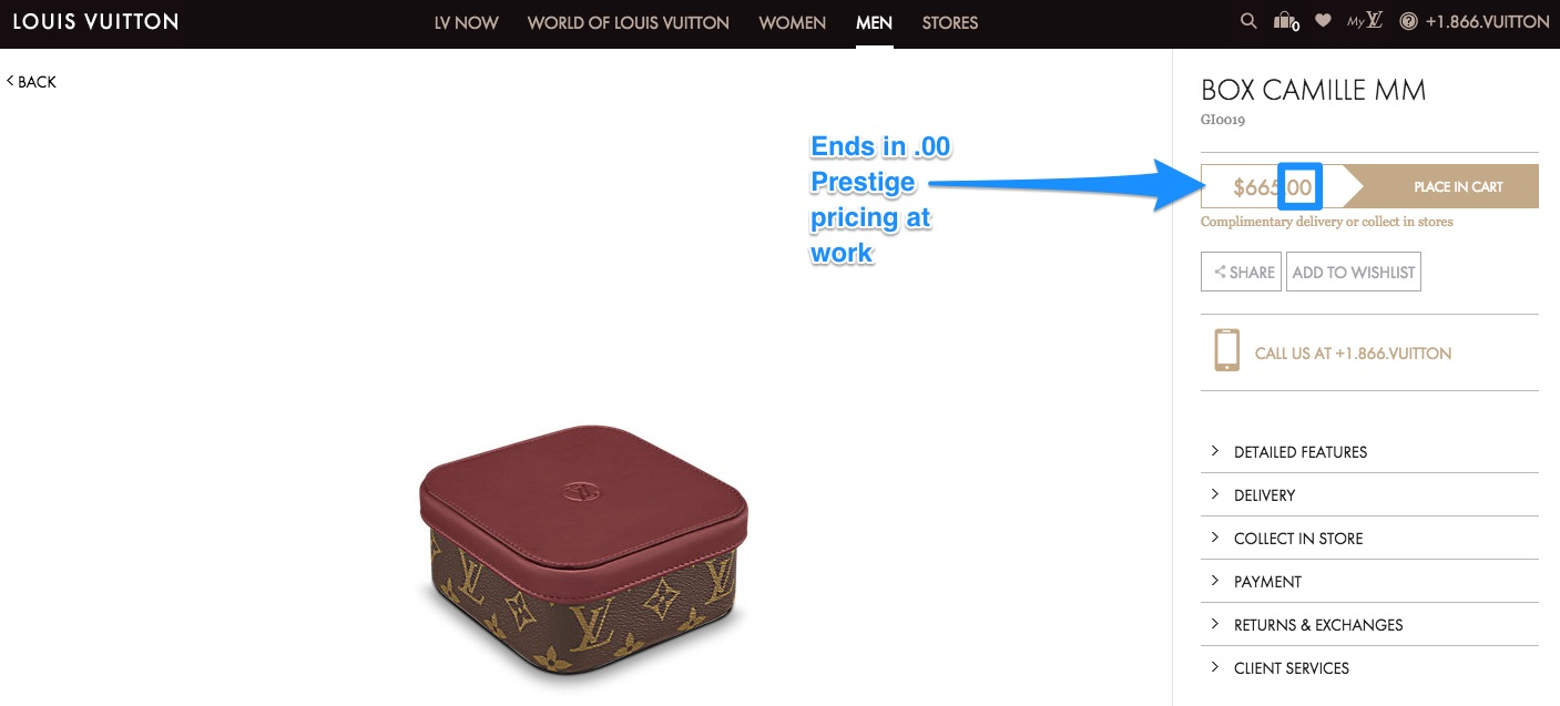 Louis Vuitton luxury pricing example