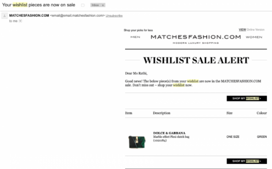 Wishlist Sale Alert from MatchesFashion