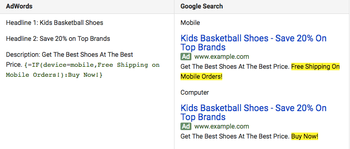 AdWords IF Function example targeting mobile devices.