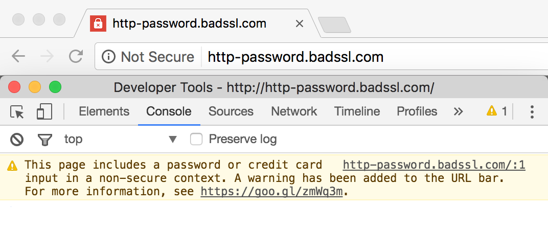 Google Chrome's not secure warning.