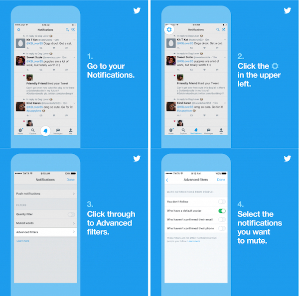 Twitter advanced notification filters