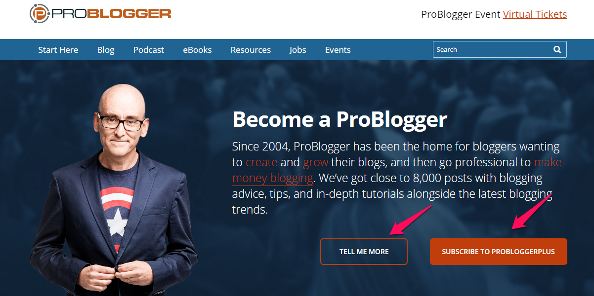 Problogger website welcome mat