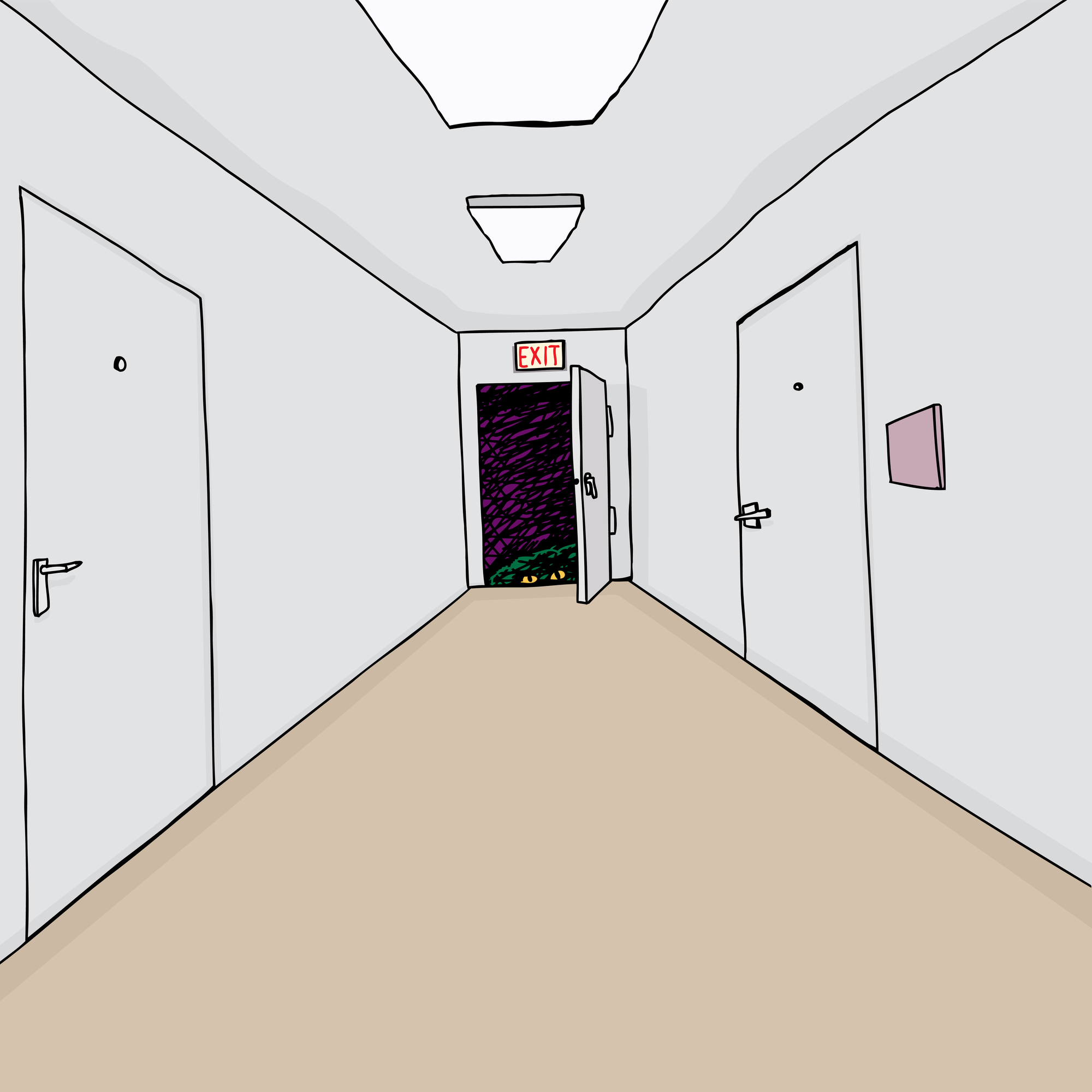 Hand drawn cartoon hallway background with scary monster