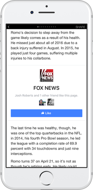 Facebook Instant Articles page like CTA unit