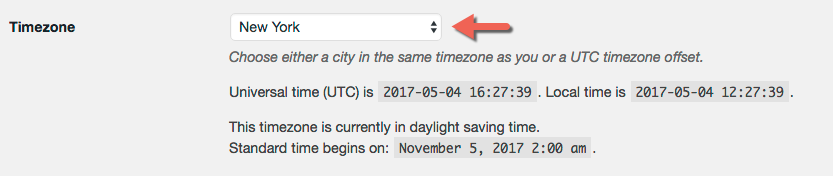 Set your time zone on WordPress