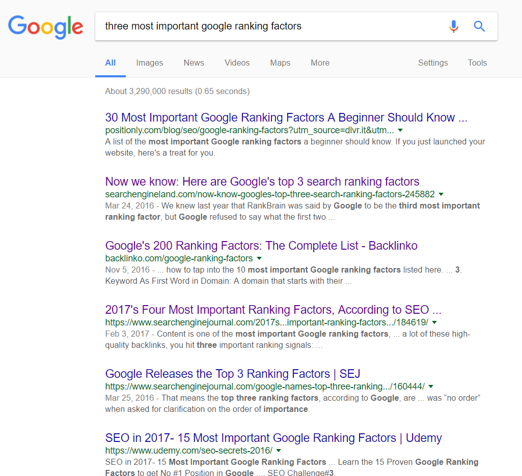 Three Important Google Ranking Factors