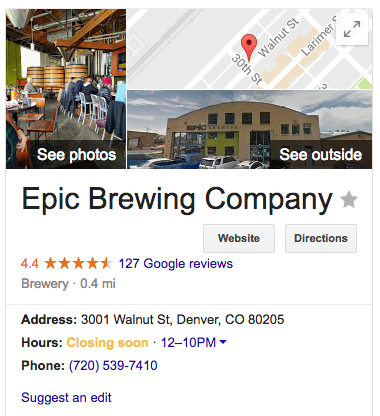 Google search results for local business