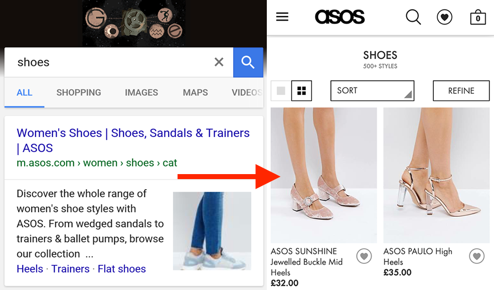 Example of app indexing by Asos