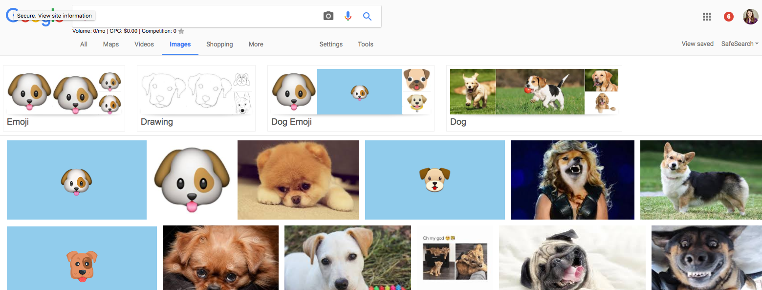 Google image search results for dog emoji