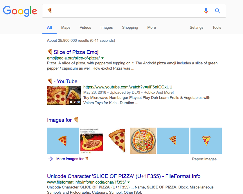 Google search results for pizza emoji