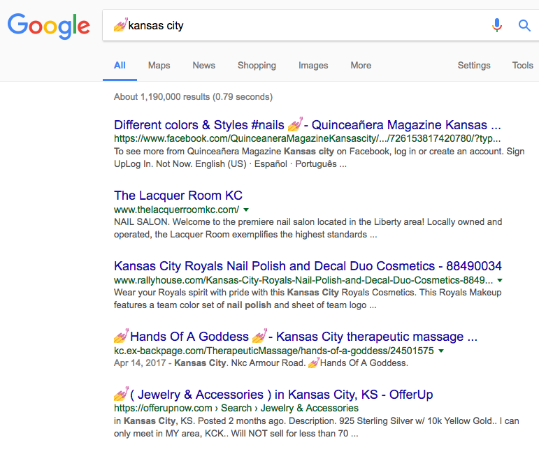Google search results for nail emoji + kansas city