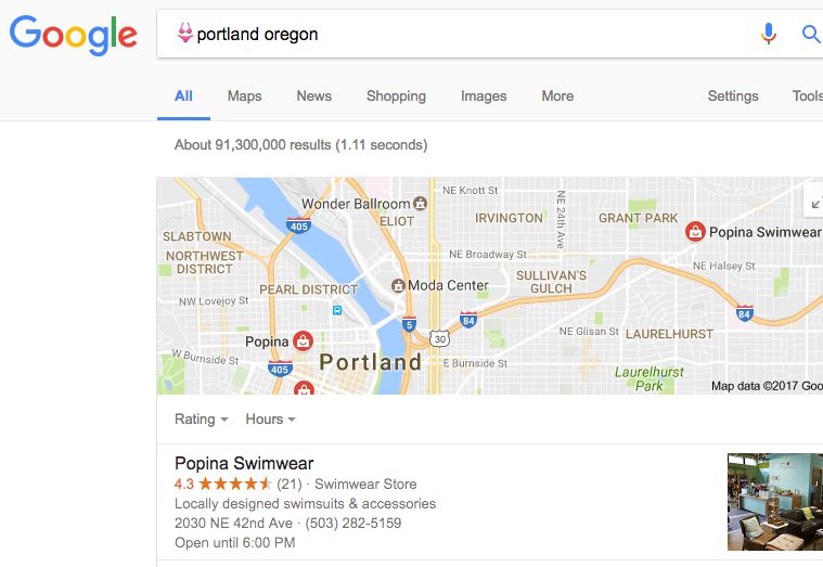 Google search results for swimsuit emoji + portland oregon showing local knowledge graph with two swimsuit stores within the Portland city limits