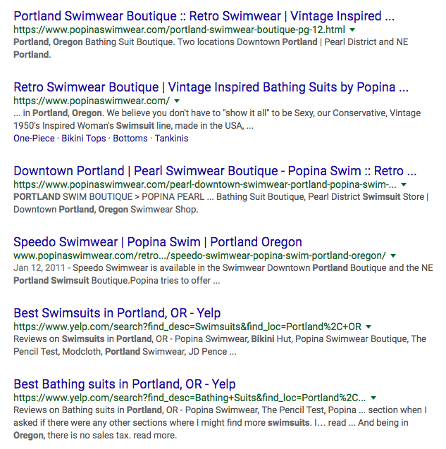 Google search results for swimsuit emoji + portland oregon