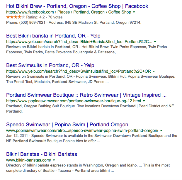 Google search results for swimsuit + portland oregon (text search)