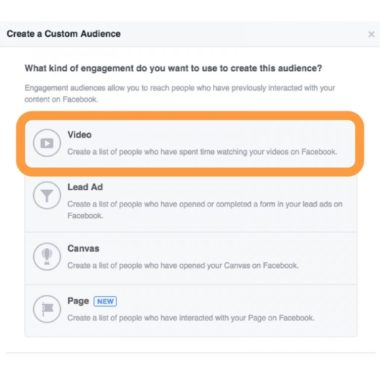 Video is the top option for creating a custom audience in Facebook based on engagement