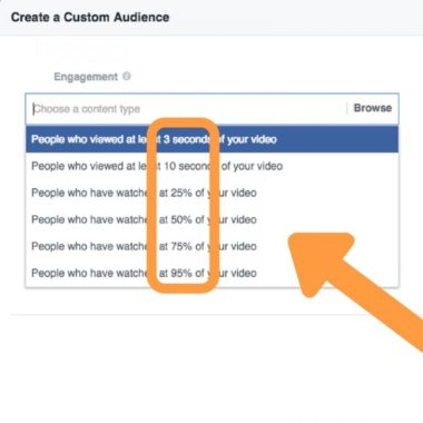 Refine custom audience on Facebook based on how long they watched your videos
