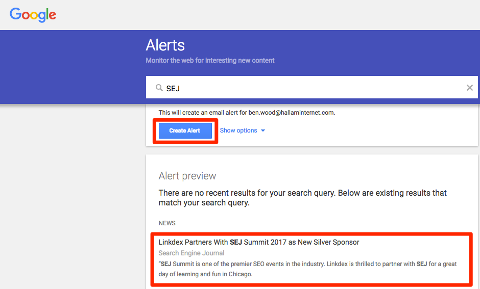 google alerts keeping track of competitors