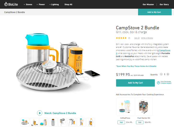 An example of a strong eCommerce product page