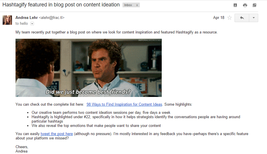 Sample email template to promote blog post