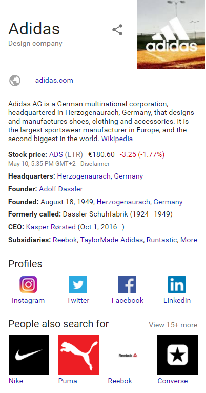 "Google search results for ""Adidas"" shows the brand's social channels on the sidebar"
