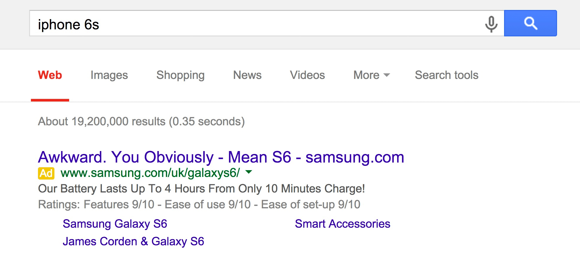 Samsung targeting Apple on Google Adwords