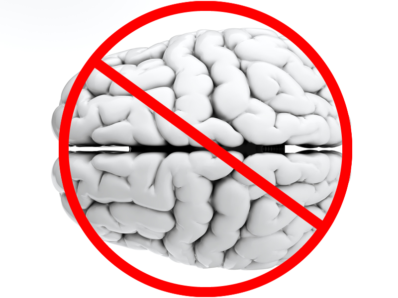 Brain with a no symbol on it