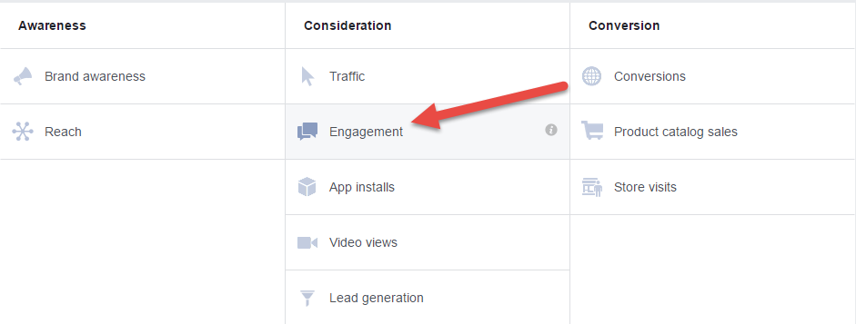Engagement objective type for paid post engagement campaigns in Facebook