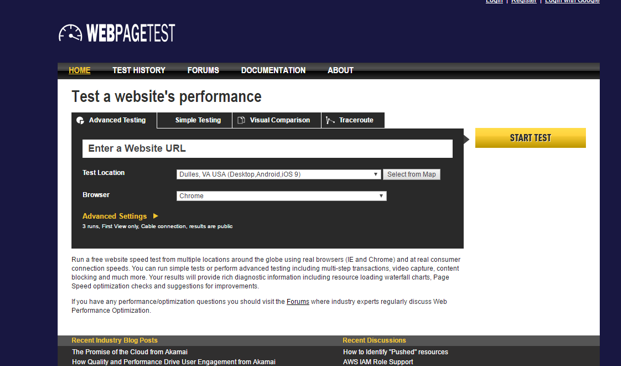 WebPageTest.org Screenshot