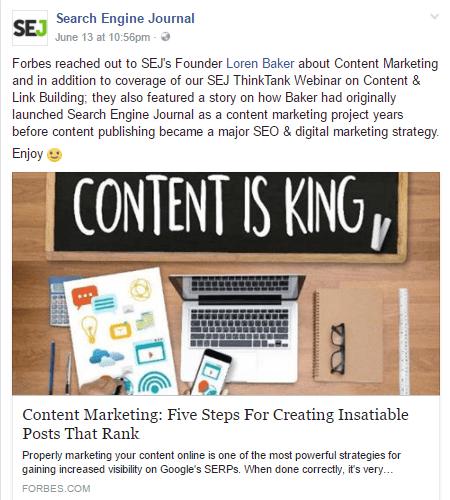 Sample Facebook post demonstrating great content curation