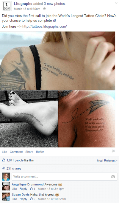 Litographs tattoo chain on Facebook