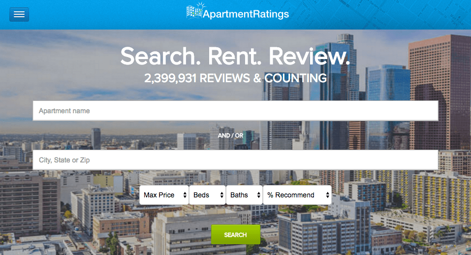 ApartmentRatings.com home page