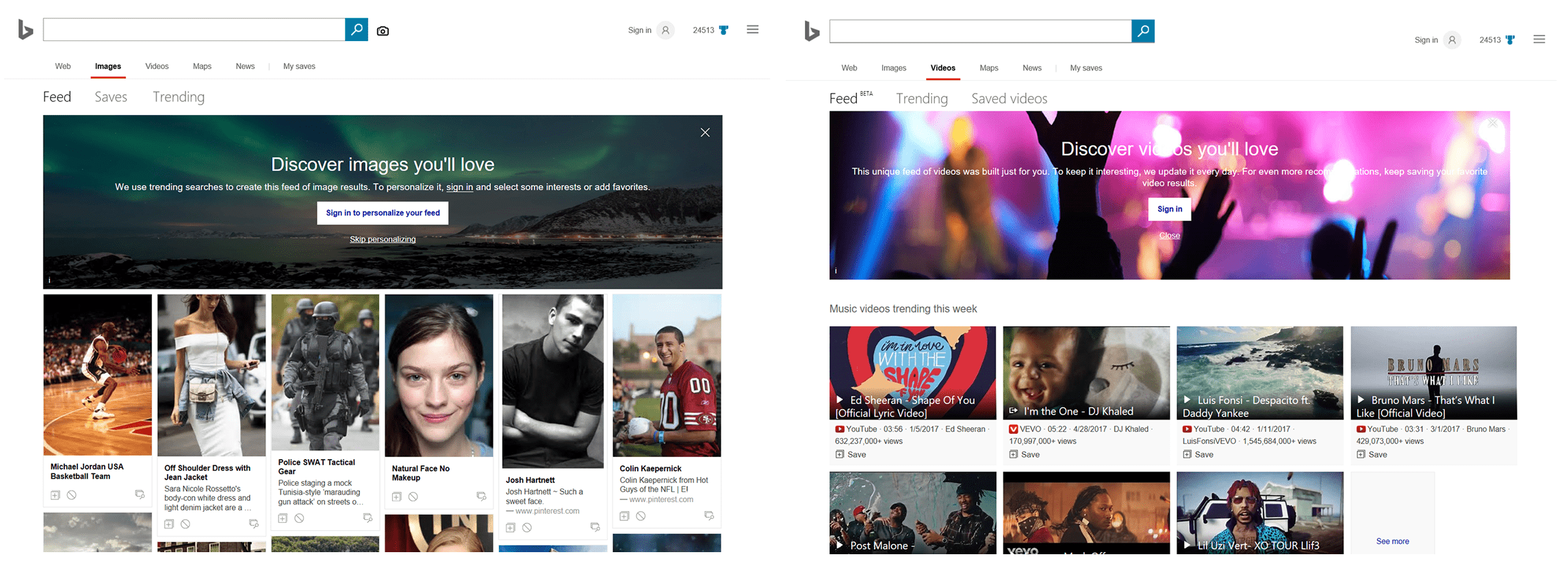 Bing Introduces Personalized Image and Video Feeds