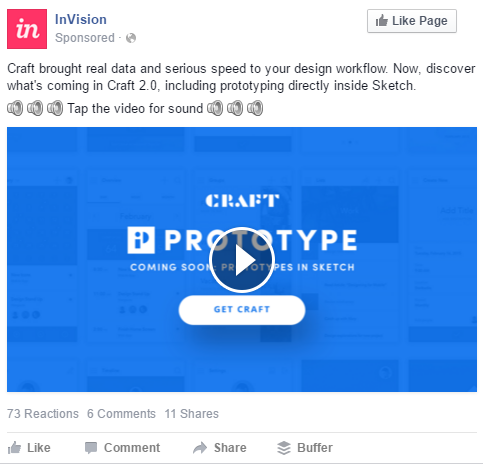 Sample Facebook ad using speaker emojis