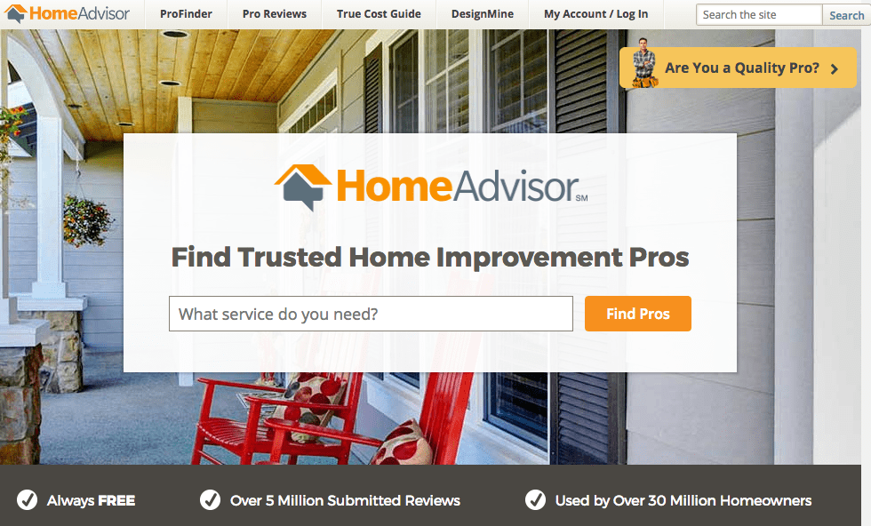 HomeAdvisor.com home page