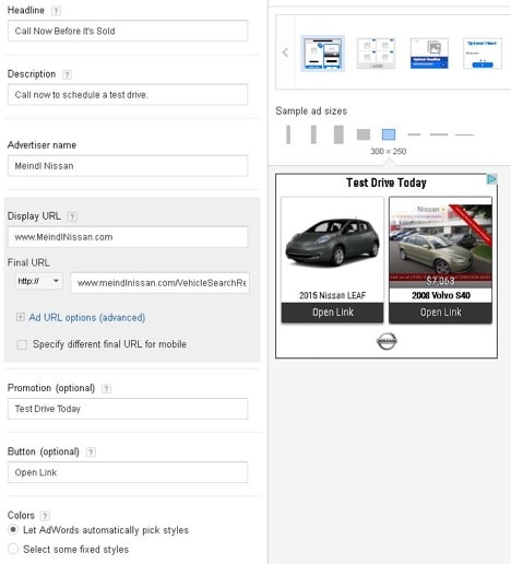 Uploading an automotive display campaign in AdWords screenshot